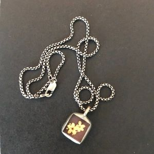 Jewelry - Silver Real Pressed Flower Necklace